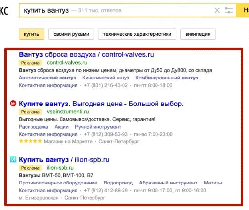 Отображение поисковой рекламы в выдаче Яндекса