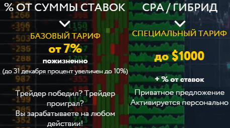 Тарифы партнерской программы binpartner