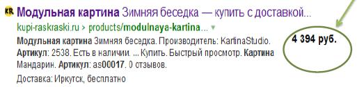 Как выводится информация о товаре и цена в сниппете Яндекса