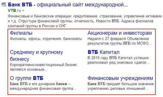 Как используется отображение быстрых ссылок в сниппете Яндекс