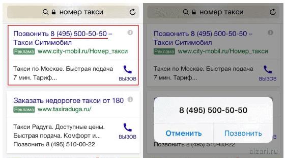 Рекламные объявления Гугл Эдвордс только с номером телефона