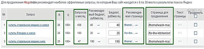 Аналитика запросов в сервисе Megaindex