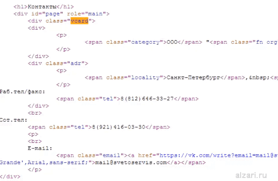 Пример семантической разметки страницы сайта