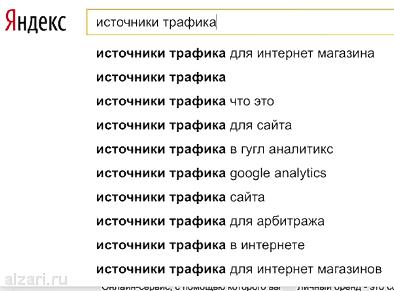 Поисковые подсказки для пользователя в системе Яндекс