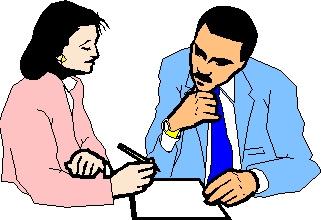 Интервьюер и интервьюируемый при визировании готового материала