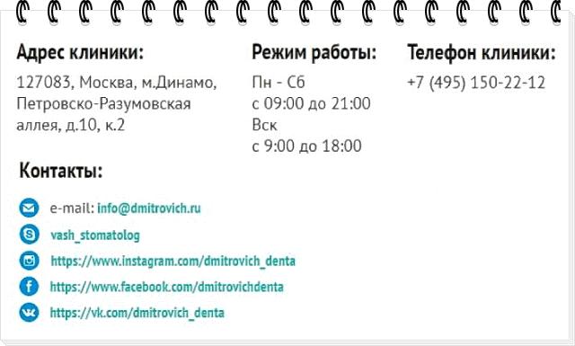Пример использования страницы сайта с контактной информацией клиники
