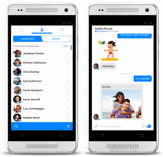 Интерфейс мессенджера Facebook на мобильном устройстве